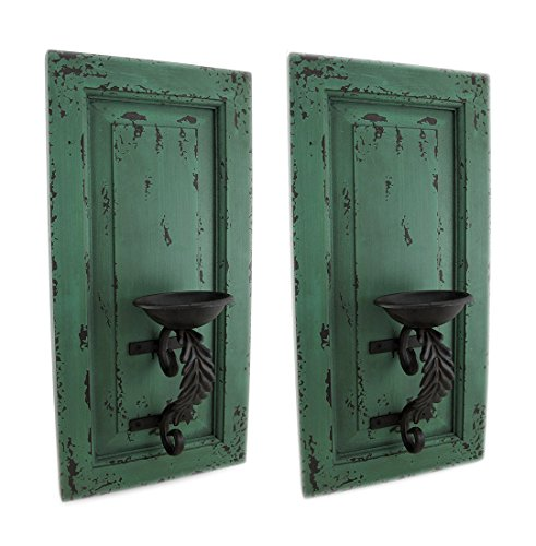 Wood & Metal Candleholders Distressed Green Wood And Metal Wall Sconce Set Of 2 Hanging Candle Holders 9.5 X 19 X 4.5 Inches Green Model # 15527