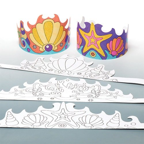 Baker Ross Mermaid Colour-in Crowns (Pack of 6) for Kids to Make and Decorate -