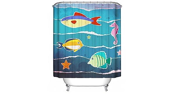 Jaws Shower Curtain Shark Underwater Ocean Nautical Summer Beach Sea Blue 70x70
