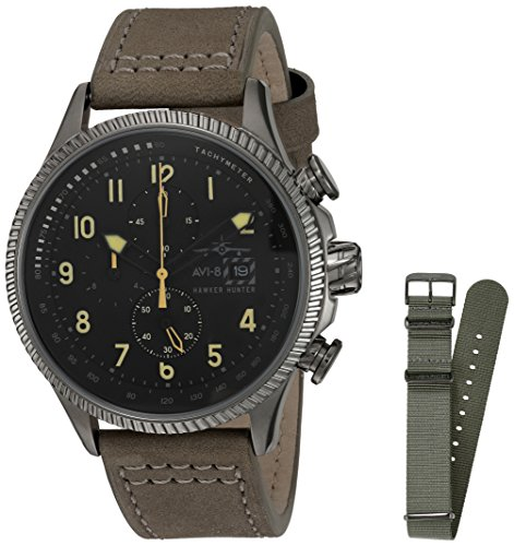 AVI-8 Men's 'Hawker Hunter' Quartz Stainless Steel and Leather Aviator Watch, Color:Grey (Model: AV-4036-07)