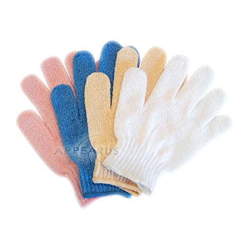 Appearus Nylon Exfoliating Bath Massage Gloves (4 Pairs)