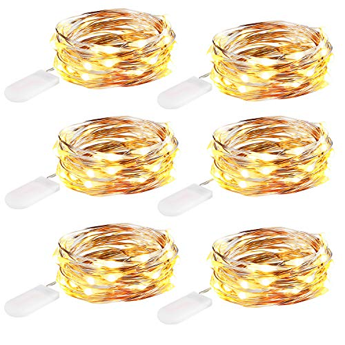 (innotree 6 Pack 10ft 30 LED Fairy Lights Battery Operated (Included), Warm White Waterproof Firefly Twinkle String Lights for Bedroom Indoor Outdoor Party Wedding Decoration, Copper Wire)