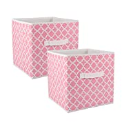 DII Fabric Storage Bins for Nursery, Offices, & Home Organization, Containers Are Made To Fit Standard Cube Organizers (11x11x11 ) Lattice Pink Sorbet - Set of 2