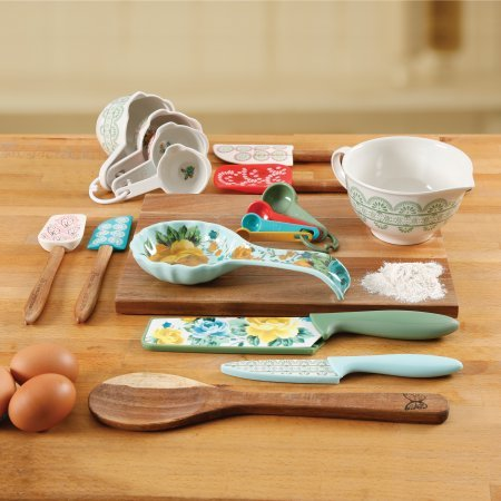 The Pioneer Woman 20 Piece Kitchen Gadget Utensil Set (Rose (2 Piece Acacia Silicone)