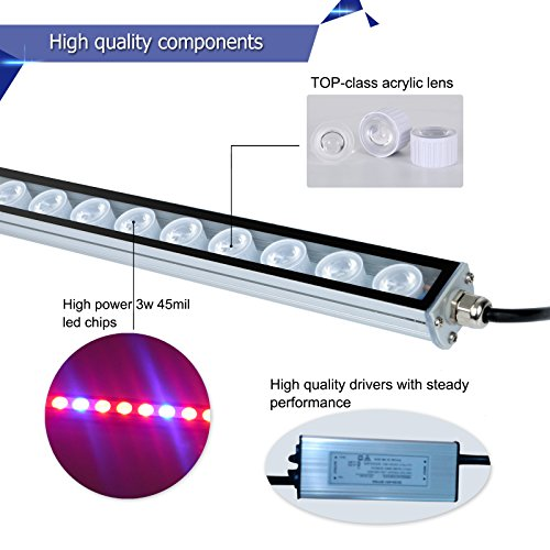 LED Grow Light, 108W Waterproof growing light bar with UV/IR/Red/Blue Spectrum for Garden Greenhouse Hydroponic Indoor Plants Growing by Lightimetunnel by Lightimetunnel (Image #4)