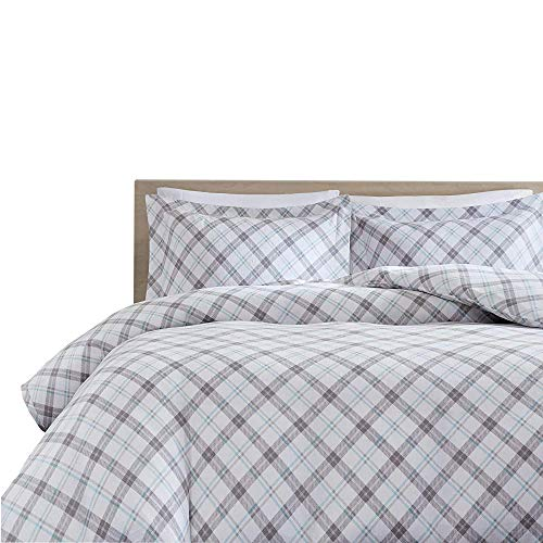 Comfort Spaces 100% Cotton Flannel 3 Piece Duvet Cover Pillow Shams, Warm Breathable Bedding Set, Queen, Grey/Aqua