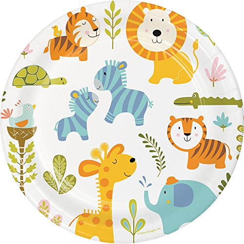 Creative Converting 324577 96 Count Sturdy Style Dinner/Large Paper Plates, Happi Jungle