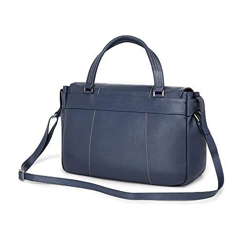Giorgio Fedon Venezia bolso de cuero del mensajero (azul) marron