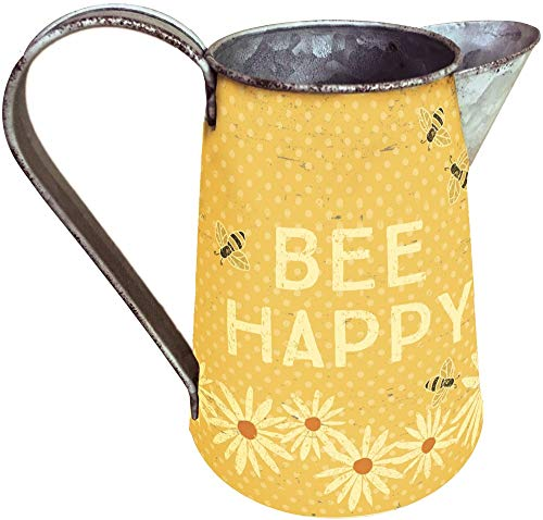 Primitives by Kathy 38311 Rustic Tin Pitcher Small Bee Happy ()