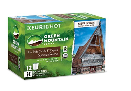 Green Mountain Coffee Keurig Single-Serve K-Cup Pods, Sumatran Reserve Dark Roast Coffee, 72 Count (6 Boxes of 12 Pods)