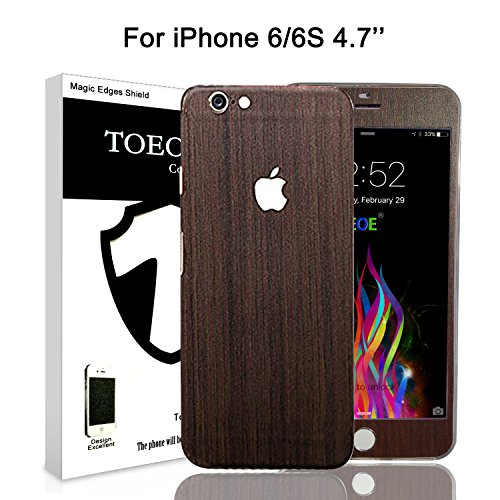 Toeoe Textured Wood Effect Skin For iPhone 6 Full Body Wrap Covered Edges Vinyl Cover Sticker Protector Decal (iPhone 6 4.7 inch Teakwood) (Textured Effect)
