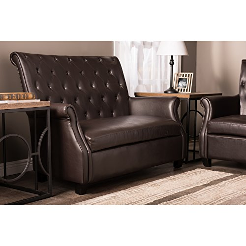 Wholesale Interiors Baxton Studio Brixton Leather Upholstered Button-Tufted 2-Seater Loveseat, Dark Brown