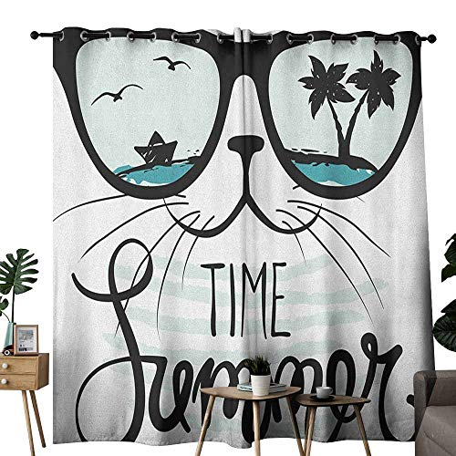 Animal Curtain for Kids Hipster Cat and Palms Ships Ocean Reflection Summer Time Image Art Print for Living, Dining, Bedroom (Pair) W72 x L108 Almond Green Black Teal ()