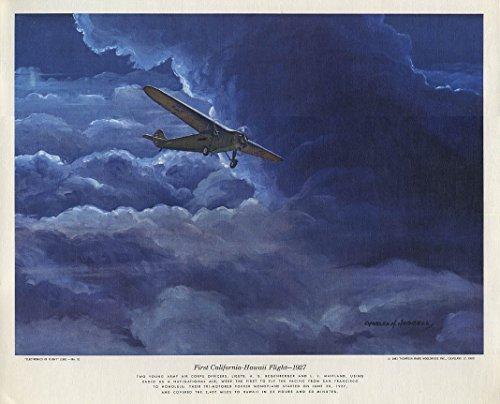 Fokker Monoplane 1st California-Hawaii Flight 1927 Hubbell calendar print 1961 - Fokker Monoplane