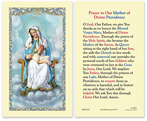 Mary Mother Of Divine Providence Holy Prayer Card, Laminated, Virgin Of Providencia, Queen Of The Home, Patron Of Puerto (Mary Personalized Prayer Card)
