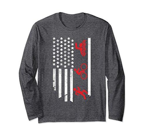 Unisex American Flag Triathlon Long Sleeve Shirt Small Dark - Clothing Triathlon Stores