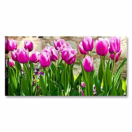 Purple Tulips, Quadro su Tela con Fiori Tulipani 90 x 45 cm | Canvas ...