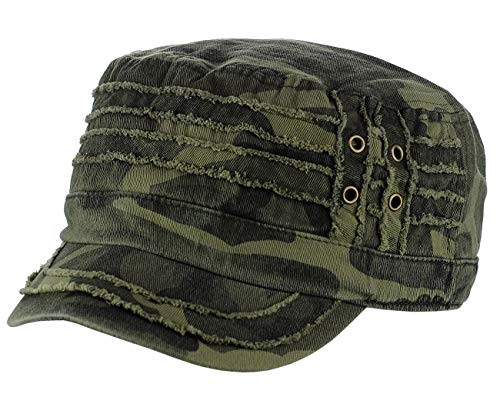 D&Y Unisex Cotton Distressed Layered Frayed Cadet Military Cap, Camo