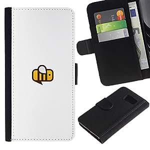 Be Good Phone Accessory // Caso del tirón Billetera de Cuero Titular de la tarjeta Carcasa Funda de Protección para Samsung Galaxy S6 SM-G920 // busy bee