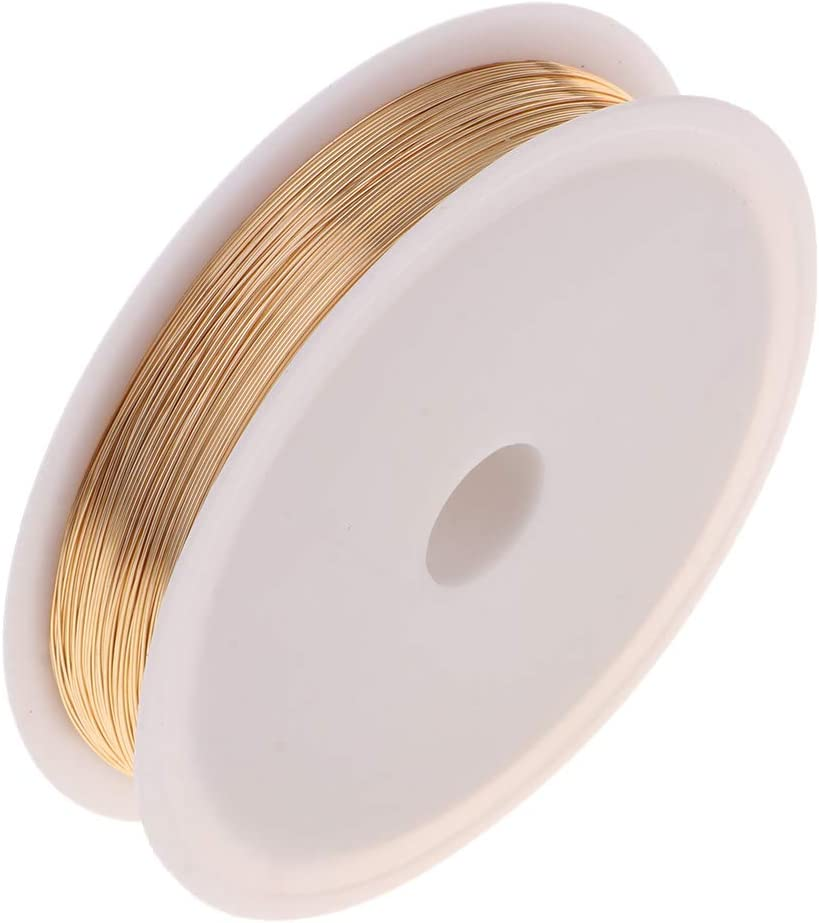0.3mm dor/é chiwanji 1 Rouleau de Fil de cuivre Nu Souple pour la Fabrication de Bijoux