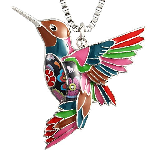 Luckeyui Colorful Hummingbird Necklaces Jewelry Gifts for Women Girl Unique Design Bird Pendants Keychain