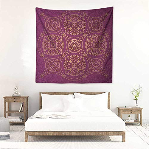 (Willsd Purple Mandala high-end Quality Tapestry Persian Ornamental Lace Pattern Traditonal Authentic Arabic Folkloric Boho Design Literary Small Fresh 39W x 39L INCH Gold)