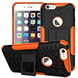 iPhone 6 Case, iPhone 6s Case, Folice [Heavy Duty] [Shockproof] Hybrid Rugged Soft Rubber Hard PC Tough Dual Layer Protective Case Cover with Kickstand for Apple iPhone 6 / 6s 4.7 inch (Orange)