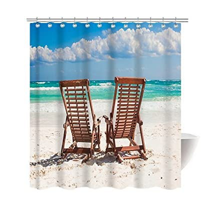 Gwein Beautiful Natural Scenery Beach Lounge Chair Shower Curtain Polyester Fabric Mildew Proof Waterproof Cloth