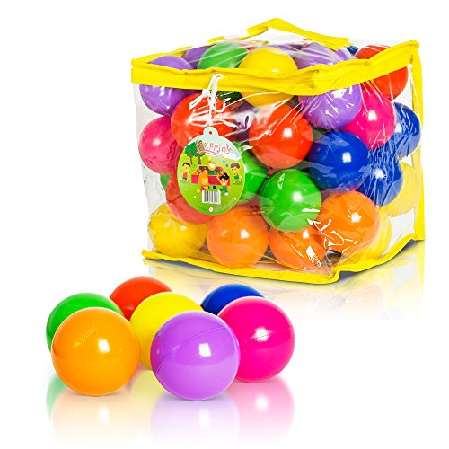 Soft Plastic Kids Play Balls – Non Toxic, 50 Phthalate & BPA Free - Crush Proof & No Sharp Edges; Ideal for Baby or Toddler Ball Pit, Kiddie Pool, Indoor - Of Pit Play Plastic Bag