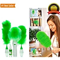 LAUGHINGBUDDHA™ Creative Hand-Held, Sward Go Dust Electric Feather Spin Home Duster, Green. Electronic Motorised Cleaning Brush Set