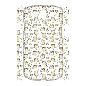 3D Nuktoe Cute Kitty and Heart Patterns Cases for Samsung Galaxy S3 Scratch Resistant, Case for Samsung Galaxy S 3 for Men with White