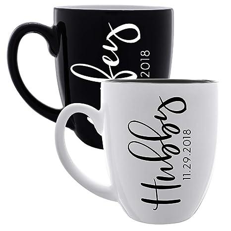0609debec66 Coffee Mugs Set of 2 -Personalized Couple Matching Large Ceramic Coffee  Mugs - Custom Name Mug Set Honeymoon Anniversary Birthday Best Friend Gift  |16 ...