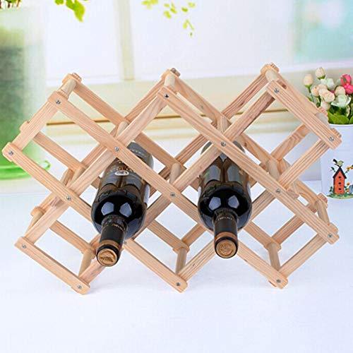 NOMIMAS Classical Wooden Red Wine Rack Beer Foldable 3/6/10 Bottle Holder Kitchen Bar Display Shelf Home Table Decor