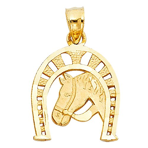 Ioka - 14K Yellow Gold Lucky Horseshoe Charm Pendant For Necklace or Chain