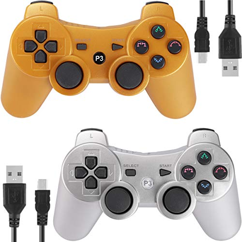 Kolopc 2 Packs Wireless Controller Gamepad Remote for PS3 Playstation 3 Double Shock - Bundled with USB Charge Cord(Gold and Silver)
