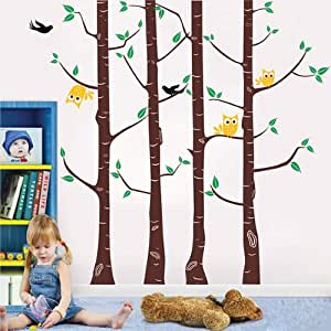 Pop decors removable vinyl art wall decals for Bird and owl tree wall mural set