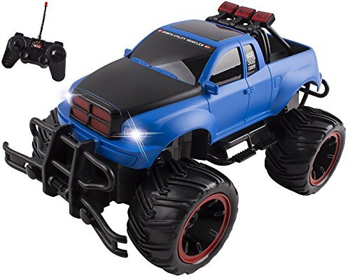 - Vokodo R/C Monster Truck Toy Remote Control RTR Electric Vehicle Off-Road RC Race Car (1:16 Large Scale - Blue)
