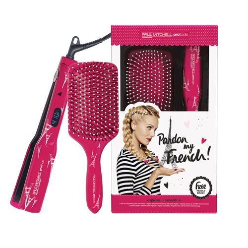 Paul Mitchell Pardon My French Express Ion Smooth flat iron and brush