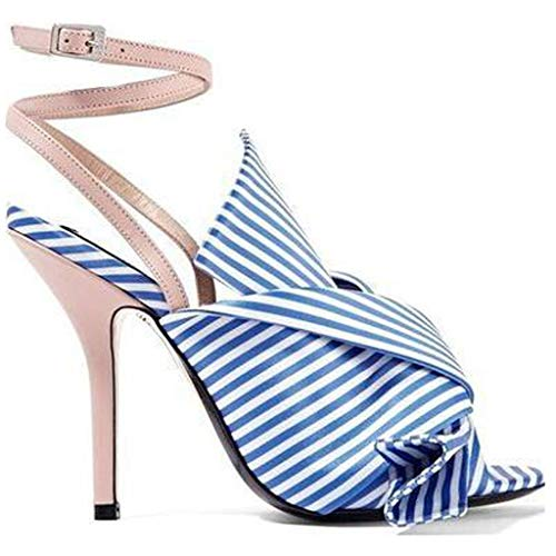 (Sandals for Women With Heels, NEEKEY Fashion Bow With A Buckle With Striped Color Matching High Heel Sandals)