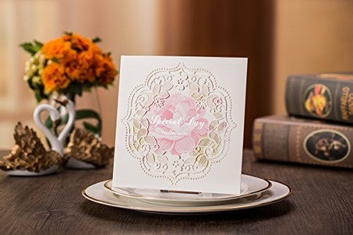 (Tennove 50PCS Invitation Cards Laser Cut Square Wedding Party Invitations Cards with Lace for Wedding Engagement Party)