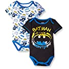 Batman Baby Boys' Value Pack Bodysuits, Black, 0-3 Months