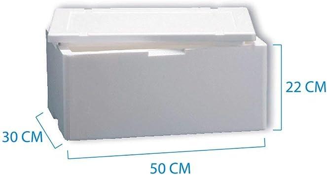 Caja térmica de poliestireno, blanca, rectangular, de 50 cm x 30 cm ...