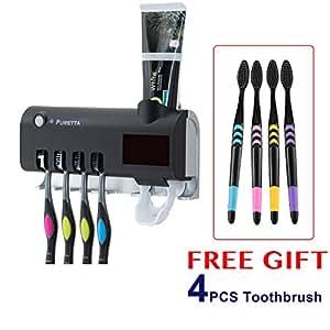 BLOSSOMLIFE PURETTA Solar Power UV Light Sterilizer Toothbrush Holder Automatic Toothpaste Dispenser & 4PCS Toothbrush
