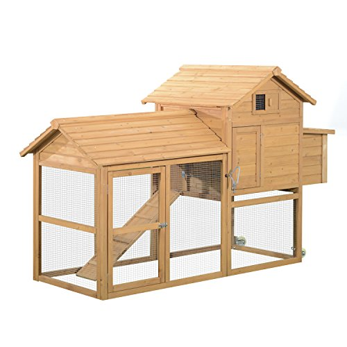 "(PawHut 83"" Wooden Portable Backyard Chicken Coop With Fenced Run And Wheels)"
