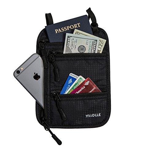 41q2uLuU6JL Miolle RFID Fitness Travel Neck Wallet Bag Passport Holder - Neck Bag Passport Wallet for Men and Women