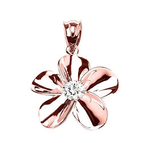 Collier Femme Pendentif 10 Ct Or Rose Hawaiienne Plumeria Oxyde De Zirconium (Livré avec une 45cm Chaîne)