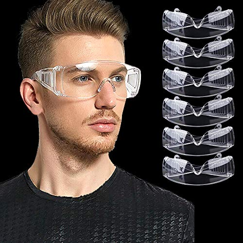 ZHUYIYI 6 Pieces Safety Glasses Clear View Safety Goggles Anti-Scratch Wraparound Lenses Doctor Laboratory Woodworking Welding Personal Protective Equipment