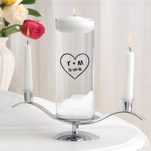A Gift Personalized Personalized Floating Wedding Unity Candle Set- Heart of Love