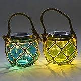 Lightshare TYNYG Glass Solar Jar Cambo, 5-Inch, Green and Blue, Set of 2