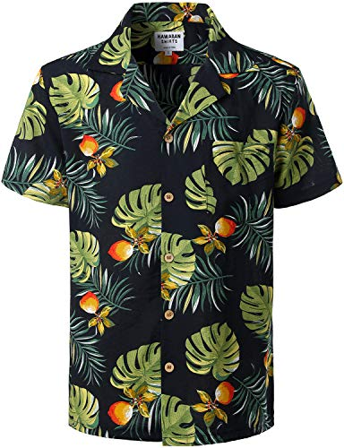 (ZEROYAA Summer Men's Flower Design Casual Button Down Short Sleeve Hawaiian Beach Shirts with Pocket ZLCL02-207 Navy X-Large)
